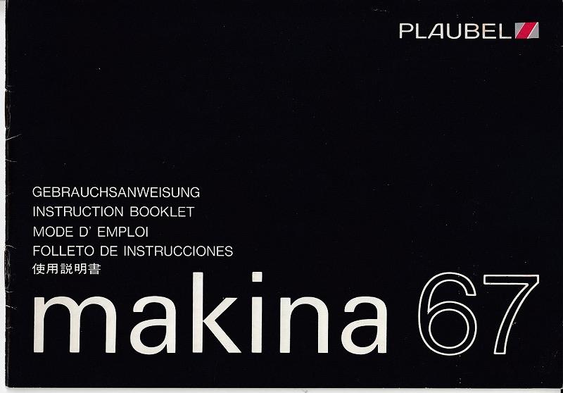 Makina  プロウベルマキナ 67  の取扱説明書/オリジナル版/多言語/'80.10(中古美品)